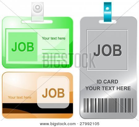 Job. Vector id cards.