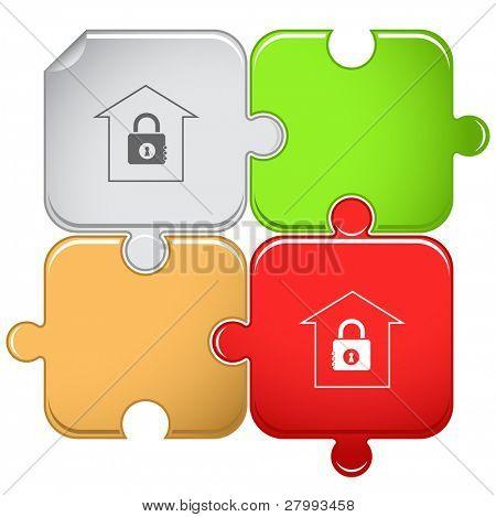 Bank. Vector puzzle.