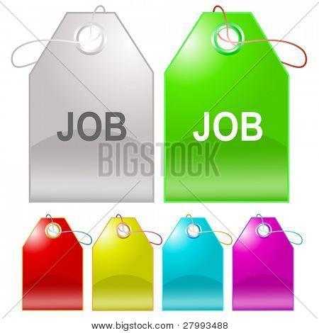 Job. Vector tags.