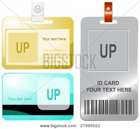 Up. Vector id cards.