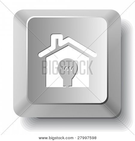 Light in home. Vector computer key.