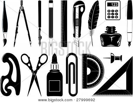 Raster icons of office tool