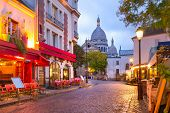 The Place Du Tertre With Tables Of Cafe And The Sacre-coeur In The Morning, Quarter Montmartre In Pa poster