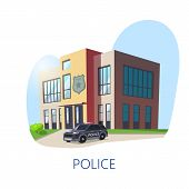 Isometric View On Police Department Or Station Building. Policeman Construction With Guard Sign And  poster