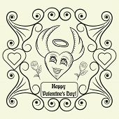 Vector Contour Illustration Coloring On The Theme Of Valentines Day, Heart With Angel Wings And A Ha poster