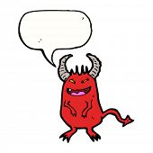 stock photo of sneaky  - sneaky devil with speech bubble cartoon - JPG