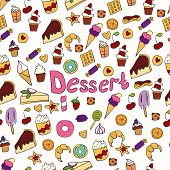 Doodle Illustration Of Desserts And Pastries. Hand Drawn Vector Illustration Made In Cartoon Style. poster