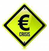 yellow euro crisis sign illustration design on white