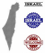 Welcome Collage Of Halftone Map Of Israel And Rubber Watermarks. Halftone Map Of Israel Designed Wit poster