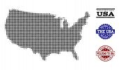 Welcome Collage Of Halftone Map Of Usa And Scratched Seals. Halftone Map Of Usa Constructed With Bla poster