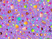 Cute Seamless Pattern With Colorful Sweets, Cakes, Lollipops. Cartoon Seamless Pattern With Candy An poster