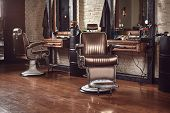 Barbershop Armchair. Modern Hairdresser And Hair Salon, Barber Shop For Men. poster