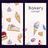 Vector Logo Design Template And Seamless Pattern In Doodle Style For Packaging. Bakery Concept. Vect poster