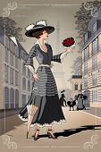 A Girl With An Umbrella And A Bouquet Of Roses On Paris Street. Belle Epoque Vintage Poster From Par poster