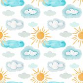 Cute Colorful Watercolor Weather Elements Seamless Pattern. Bright Cartoon Texture With Yellow Suns  poster