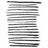 Chalk Brushes Set. Grunge Stripes With Chalk Texture. Handdrawn Design Elements On White Background. poster