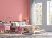 Coral Pink Bedroom With Nature View 3d Render.the Rooms Have  Wooden Floors And Coral Pink Empty Wal poster