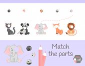 Compliance With Childrens Educational Game. Match Animal Parts. Find The Missing Puzzles poster