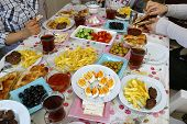 breakfast table, a breakfast table of turkey culture, Turkish breakfast table,Turkish style breakfas poster
