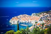 Panoramic View Of Old Town (medieval Ragusa) And Dalmatian Coast Of Adriatic Sea In Dubrovnik. Blue  poster