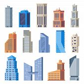 City Office Buildings. Glass Building, Modern Urban Offices Exterior And Town Tall Houses Isolated V poster