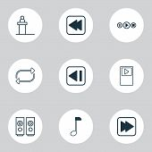 Music Icons Set With Previous Music, Note, Audio Buttons And Other Song Ui Elements. Isolated Vector poster
