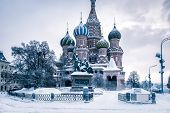 St Basils Cathedral In Cold Winter, Moscow, Russia poster