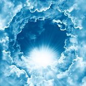 Sky With Beautiful Cloud And Sunshine. Peaceful Cloudy Sky Natural Background. Sunny Day. Divine Shi poster