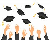 Concept Of Education, Hands Of Graduates Throwing Graduation Hats In The Air. Vector Illustration. poster