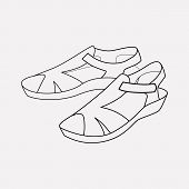 Sandals Icon Line Element. Vector Illustration Of Sandals Icon Line Isolated On Clean Background For poster