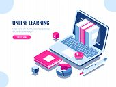 Catalog Of Online Courses Isometric Icon, Online Education, Internet Learning, Laptop With Book On S poster