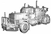 pic of tow-truck  - A sketchy schematic illustration of a tow truck - JPG