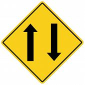 Two Way Traffic Ahead Sign On White Background. Flat Style. Two Way Traffic Sign For Your Web Site D poster