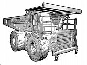 stock photo of jcb  - Sketchy blueprint illustration of an Earthmover in black an white - JPG