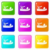 Women Sandale Icons Of 9 Color Set Isolated Illustration poster