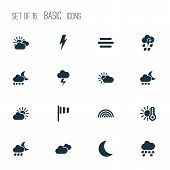 Climate Icons Set With Sunshine, Temperature, Partly Cloudy And Other Moon Elements. Isolated Vector poster
