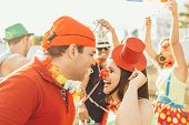 Brazilian Carnival. Couple In Costume Enjoying The Carnival Party In The City poster