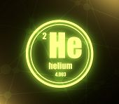 Helium Chemical Element. Sign With Atomic Number And Atomic Weight. Chemical Element Of Periodic Tab poster