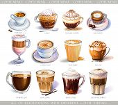 Set With Diferent Coffee Drinks For Cafe Or Coffeehouse Menu. Illustration Of Strong Espresso, Gentl poster