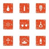 Doping Icons Set. Grunge Set Of 9 Doping Icons For Web Isolated On White Background poster