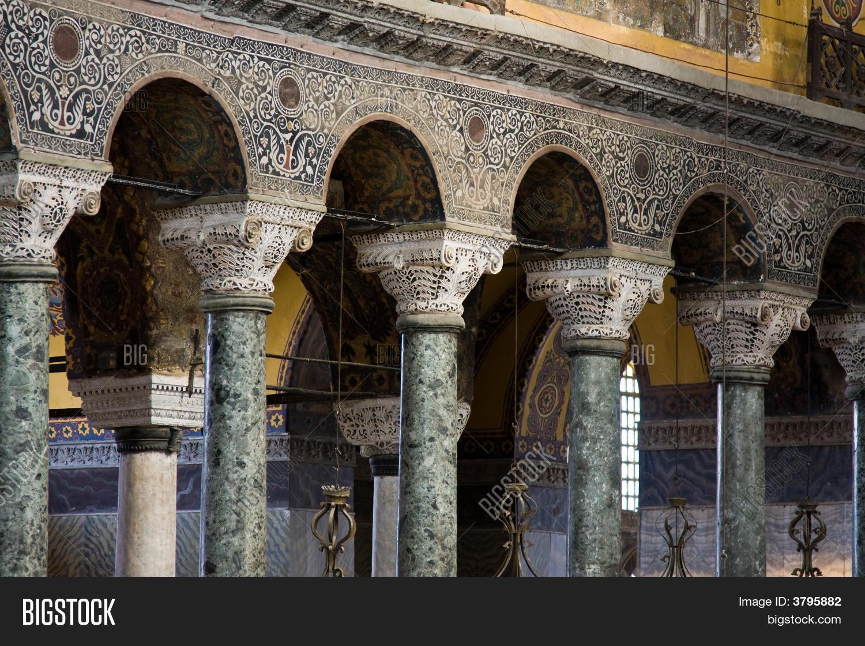 Hagia Sophia Interior Pillars And Arches Stock Photo