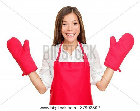 Funny Housewife With Oven Mittens
