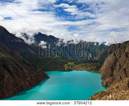 Phoksundo Lake In Shey Phoksundo National Park, Dolpo Area, Nepal