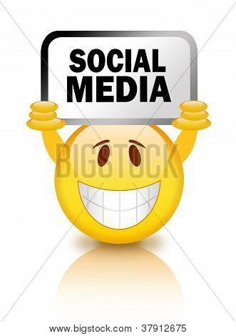 Emoticon with social media sign