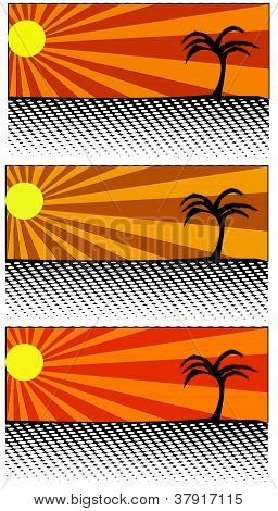 Three samples of sun and palm and beach