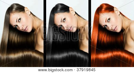 Collage Of A Beautiful Young Woman , With Long Natural Straight Hair , Mixed Color , Concept Hairsty