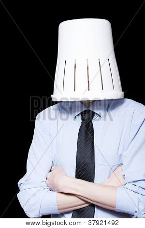 Business Person Under Stress Wearing Paper Bin