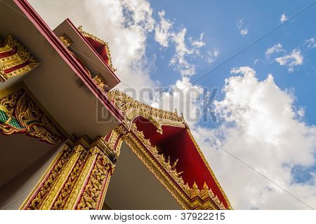 Gate of temple with beautiful sky