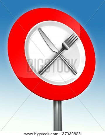 Diet Road Sign With Metal Fork And Knife