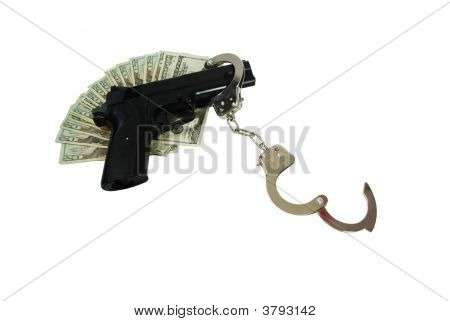 Handcuffs, Hand Gun, Money